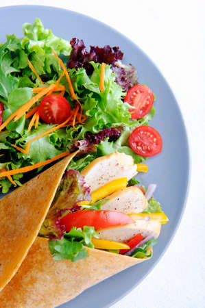 Delicious healthy meal consisting of a chicken burrito with plenty of fresh raw salad  Stock Photo - 15565876