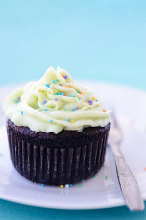 hundreds: Mini chocolate cake frosted with icing and sprinkled with colourful hundreds and thousands