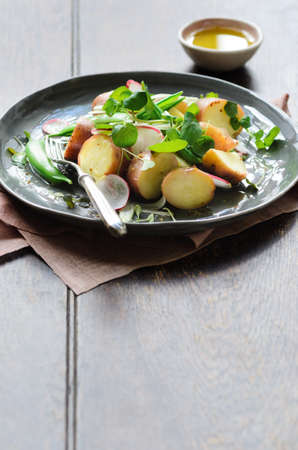 Fresh healthy potato salad with peas, green shoots, radish and mustard dressing. styled by food stylist with plenty of copy space photo