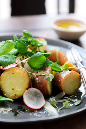 Fresh healthy potato salad with peas, green shoots, radish and mustard dressing. styled by food stylist photo