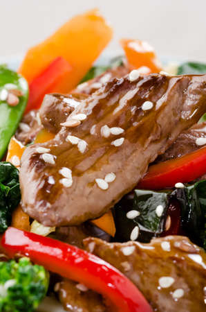 stir up: Beef stir fry close up with vegetables Stock Photo