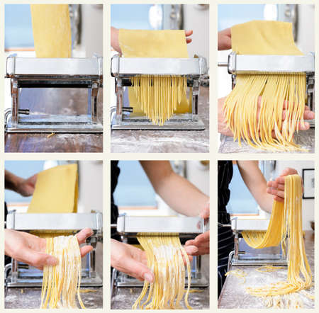 Collage of fresh raw pasta rolling and cutting process with pasta machine on countertop photo