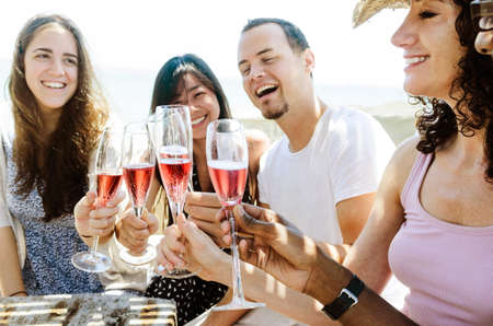 white wine: Group of friends toasting champagne sparkling wine at a relax party celebration gathering