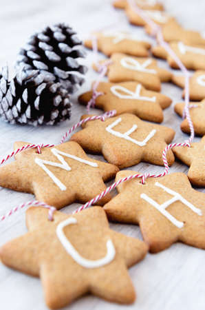 Gingerbread stars with letters spelling merry christmas tied with bakers twine used for christmas decoration and ornament photo