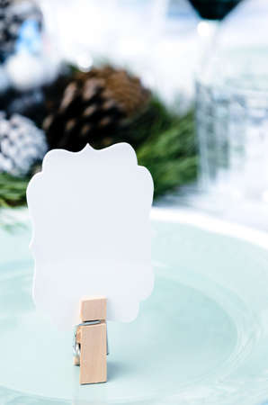 Christmas table setting in blue white and green theme with empty place card Stock Photo - 20668693