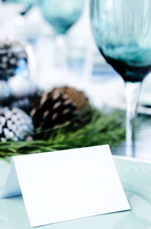 Christmas table setting in blue white and green theme with empty place card Stock Photo - 20668694