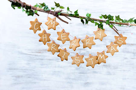 Gingerbread stars with merry christmas tied with bakers twine, hanging off a bare branch on white rustic background photo