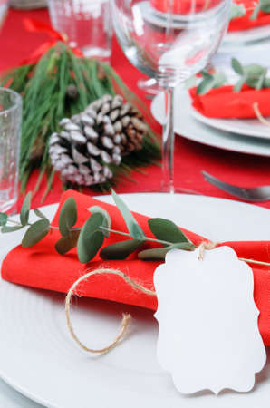 Christmas meal table setting with red napkins tied in twine ribbon and branch, pine cone and green centrepiece photo