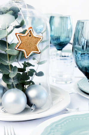 Glass dome christmas decoration centerpiece with gingerbread star and silver bauble, white blue xmas dinner setting Stock Photo - 20669941