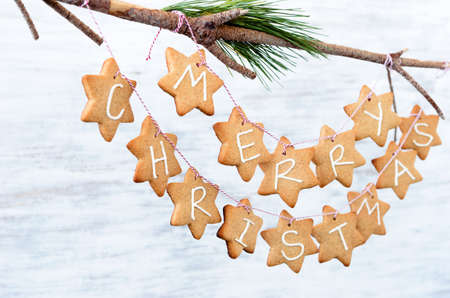 Gingerbread stars with Merry Christmas hanging off a branch as xmas wall decoration, home DIY craft ornament photo
