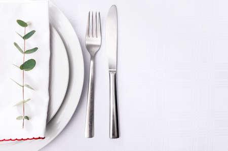 일반 그릇과은 그릇에 흰색 냅킨에 최소한 저녁 식사 장소 설정, 녹색 나뭇 가지