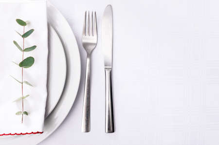 Minimalist dinner place setting, green twig on white napkin on plain crockery and silverware photo