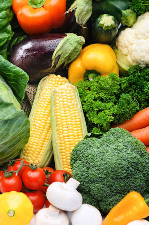 Fresh vegetable background, healthy organic fresh local farmers market, broccoli, sweet corn, parsley, mushroom, tomatoes, squash, aubergine, peppers, capsicums  photo