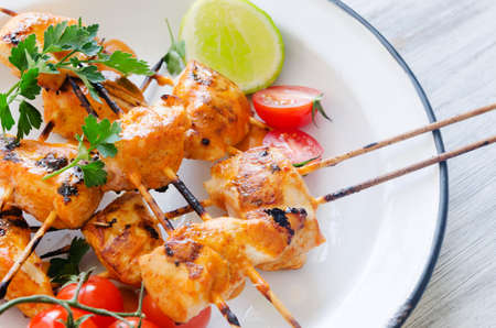 Close up of chicken kebabs served with tomatoes lime and coriander in a rustic enamel plate photo