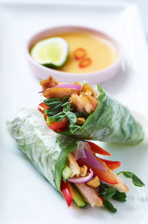 Mini asian canapes, fresh rice paper spring roll appetisers with grilled chicken and vegetables photo