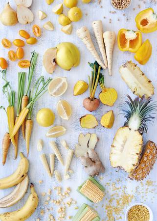Overhead shot of sliced up yellow raw and organic food photo