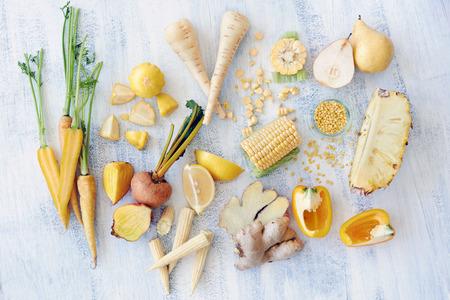Fresh raw organic food displayed in an overhead shot photo