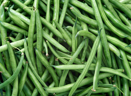 Green beans Raw fruit and vegetable backgrounds overhead perspective, part of a set collection of healthy organic fresh produce photo