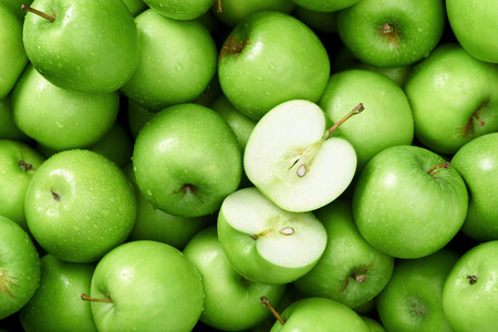 granny smith apple: Green apple Raw fruit and vegetable backgrounds overhead perspective, part of a set collection of healthy organic fresh produce