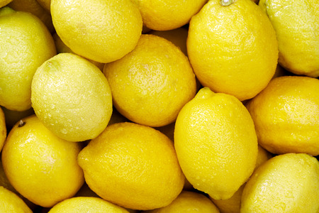 Lemon citrus Raw fruit and vegetable backgrounds overhead perspective, part of a set collection of healthy organic fresh produce photo