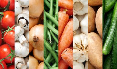Collage of healthy food background raw fresh organic vegetables photo