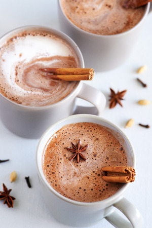 cardamon: Cup of hot chai latte with spices like cinnamon, cardamon, cloves, star anise as a sweet warm winter dessert drink Stock Photo