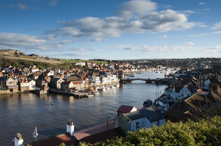 whitby: View looking Over Whitby Harbour and Marina, North Yorkshire, UK
