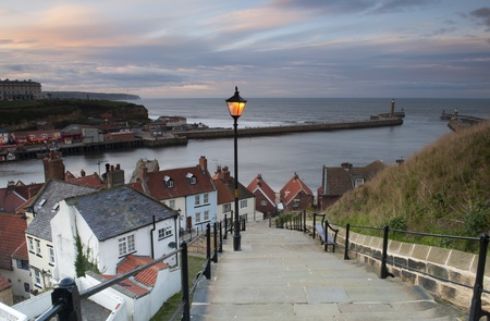 whitby: The Infamous Whitby Steps At Sunset, North Yorkshire, UK