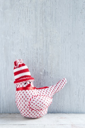 crafted: A Handmade Christmas Robin Decoration, Stood on a Wooden Shelve Stock Photo