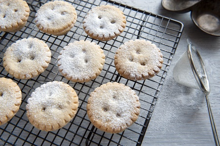 Freshly Baked Mince Pies, Having Been Sprinkled With Icing Sugar photo