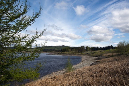 dumfries and galloway: View of Clatteringshaws Loch, set amidst the Galloway Forest park, Dumfries and Galloway, Scotland.