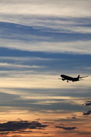 Sunset Airplane Stock Photo