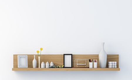 Stylish bookshelf on a white wall 写真素材