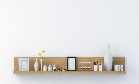 Stylish bookshelf on a white wall Stock Photo