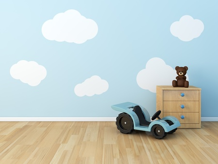 3d bedroom: clouds on the wall