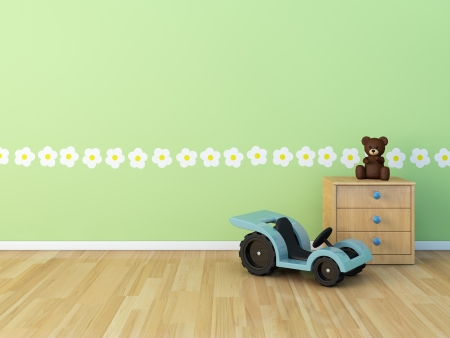 Design wall painted room baby flower Stock Photo