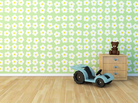 Design wall painted room baby flower 免版税图像