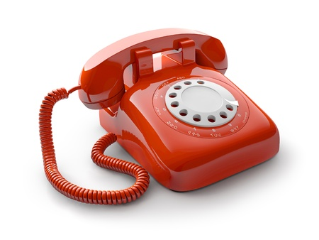 Classic 1970 - 1980 retro dial style red house telephone photo