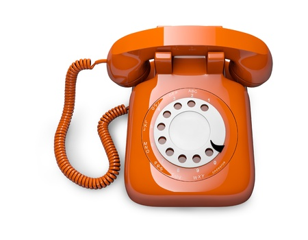 conventional: Classic 1970 - 1980 retro dial style red house telephone