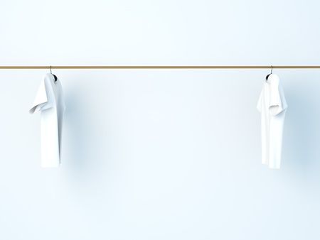 laundry hanger: dry T-shirt Stock Photo