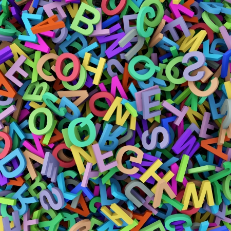 Abstract background with colorful alphabet photo