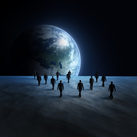 People on the moon Stock Photo
