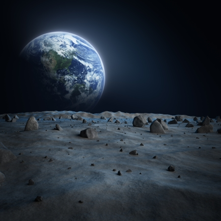 earth space: Earth moon Stock Photo