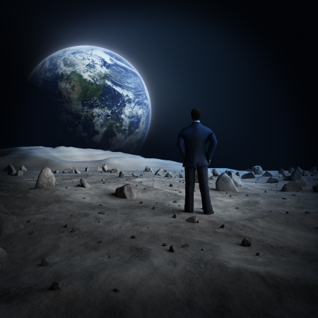 man in the moon: Earth moon Alien