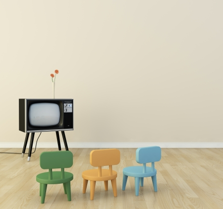 Children s room there is a television  Banco de Imagens