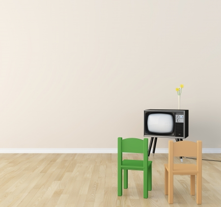 children's: Children s room there is a television  Stock Photo