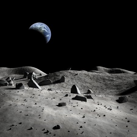 Aarde gezien vanuit de maan? Stockfoto