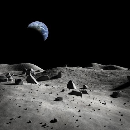 astronauta: Tierra vista desde la Luna? Foto de archivo