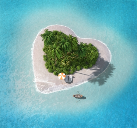 desert island: Island in the form of heart