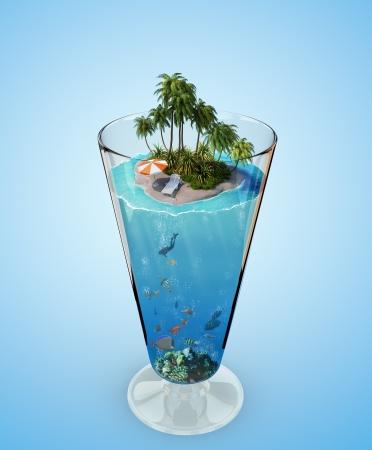 ガラスの熱帯の島 写真素材